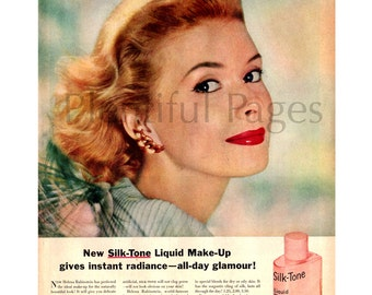 "1957 Helena Rubinstein Vintage Ad, ""Silk-Tone"" Liquid Make-Up"", 1950's Beauty Ad, Retro Cosmetics Ad, Red Lipstick, Great for Framing."