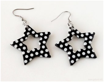 Polka Dot Earrings, Star Charms, Black and White, Surgical Steel - Oversized, Kawaii
