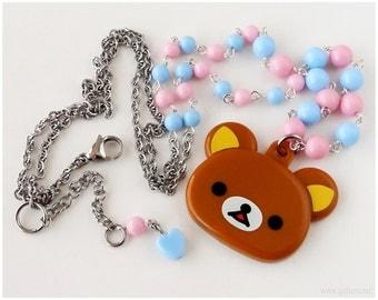 Fairy Kei, Pastel Pink and Blue, Rilakkuma Mirror Necklace - Kawaii Jewelry