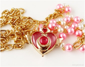 Sailor Moon Crisis Heart Compact Necklace, Beaded Pearl Chain, Gold Plated - Anime Jewelry, Magical Girl, Cosplay