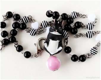 Black and White Rabbit Necklace, Beaded Chain, Bunny Figurine - Kawaii Jewelry, Sweet Lolita
