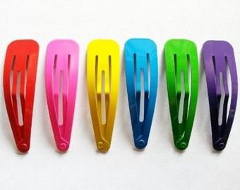 24 pcs  Big Hair snap clip  size 65 mm Mix color