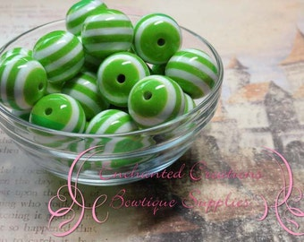 20mm Lime Green and White Striped Beads Qty 10