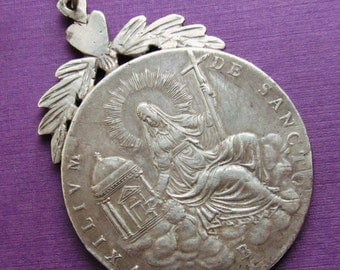 Vatican States Mother Church Sede Vacante Silver Religious Medal Catholic Pendant Dated 1828  SS471