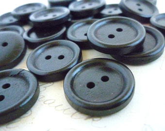 Wooden Buttons Round Three Quarter Inch - Brown/Black wood - Pack of 10
