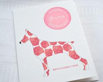 June Birthday - Birth Flower Rose Dog Greeting Card