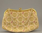 50% Off Vintage La Marquise Italian Tapestry Purse Gold Blue Pink Italian