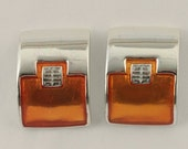 50% Off Givenchy Orange Enamel Silvertone Clip on Earrings 70s Vtg Jewelry