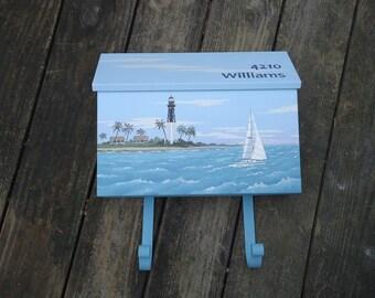 House Mounted Florida Lighthouse Mailbox, Tropical Sailboat Mailbox, Beach Decor