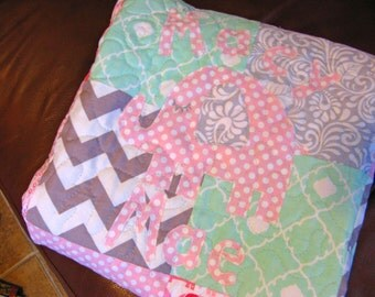 Girl Quilt Baby Mint Pink Gray - Modern Baby Quilt - Mint Pink Gray - Personalized - Handmade - Made To Order - Modern Patchwork Quilt