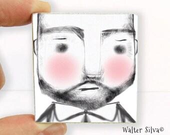 Bearded Man Magnet - Rugged Man Illustration Magnet - Super Strong Refrigerator Magnet - Father's Day Gift