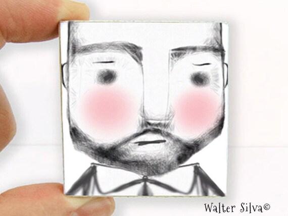 Bearded Man Magnet - Rugged Man Illustration Magnet - Hipster Dad Art Block Magnet - Father's Day gift item