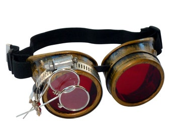 Steampunk Goggles Airship Captain Apocalyptic Mad Scientist Victorian Limited CG R