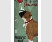 PERSONALIZED Custom BOXER  Wine Winery  print Cropped / Uncropped and Brindle / Fawn