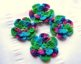 Appliques hand crocheted flowers set of 4 peacock II cotton 1.5 inch