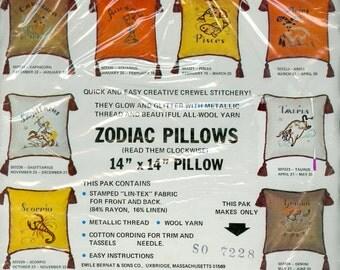 Zodiac Pillow Crewel Stitchery Kit For Libra By Bernat Vintage