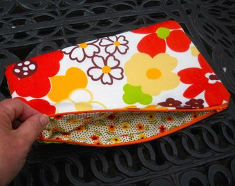 Vintage Fabric Zippered Bag, Funky Floral, Travel Bag, Little Pouch for your Big Bag, Many Uses