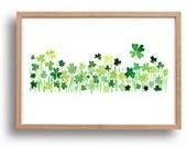 Clover field 2 art Print ,lucky clover, Shamrock, Kelly green, luck of the Irish, modern minimalist art, watercolor, St Patric's day