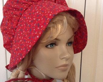 Girls Pioneer Prairie Bonnet Hat Red