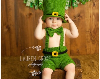 Luck of the Irish Hat and Pants Set, Irish Hat, St Patrick Day Baby, Photo Prop for Kids