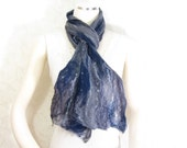 Cobweb Felted Scarf Wool Scarf Gift for Her Winter Scarf Fall Scarf Womens Scarf in Navy Blue Gray Grey Fall Fashion Gift for MOM OOAK TAFA