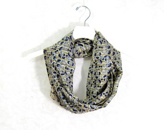 Floral  Silk Scarf Sari Silk  Infinity Scarf Gift for Mom Circle Scarf Silk Cowl Spring Scarf Summer Scarf Lightweight Scarf Eco Fashion