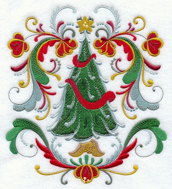 Rosemaling Christmas Tree Machine Embroidered Quilt Block