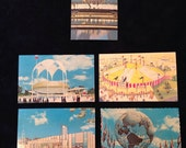 World's Fair Post Cards New York 1964 1965 Souvenir Collectible Lot Vintage 1960's Unisphere Circus Tourism Wax Museum Repurpose Altered Art