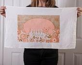 Flour sack tea towel with pig and piglets screen print