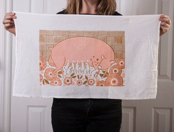 Flour sack tea towel with pig and piglets screen print