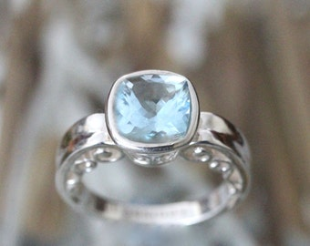 Genuine Aquamarine Sterling Silver Ring, Gemstone Ring, Cushion Shape, Engagement Ring, Stacking Ring, Eco Friendly, Art Deco -Made To Order