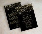 Black and vegas gold polka dot wedding invitation, modern, starry night, twinkling lights, wedding invitations, shimmer invitation, Glitter