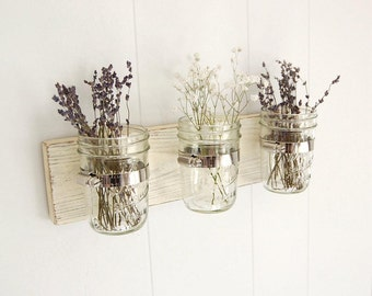 mason jar shabby chic wood wall organizer vintage white -or- you choose the color