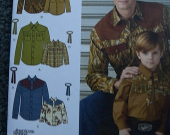 Simplicity 1327 Boy's and Mens' Western Shirt and Tie in sizes S-L/S-XL (uncut)