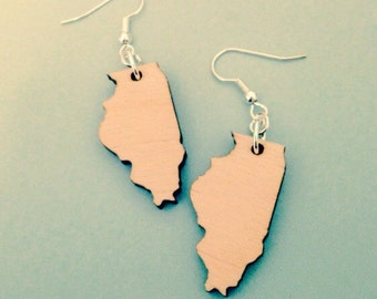 Wooden Illinois Earrings - Laser-cut Wood State Jewelry, Lasercut Earrings