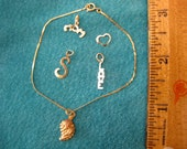 "Vintage 14Kt/ 10Kt Gold Charms / Black Hills Tri 10Kt Grape Leaf Charm/Pendant/Bracelet/ 14K Love Charm, Heart Charm,""S"" Charm , ""Mom"" Charm"