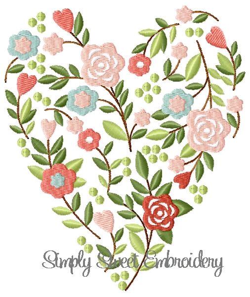Flower heart machine embroidery design