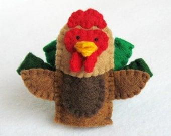 Rooster, rooster puppet, rooster finger puppet, rooster felt puppet, finger puppet, felt puppet, chicken, felt, farm animal puppet