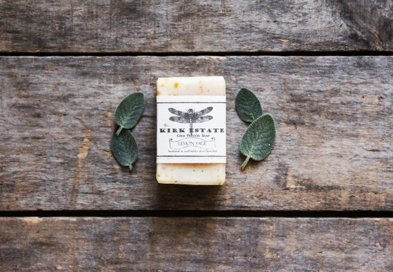 Lemon Sage, Dragonfly, small bar, handmade soap, cold process soap, organic, all natural soap, vegan soap, lightly scented, bath + body