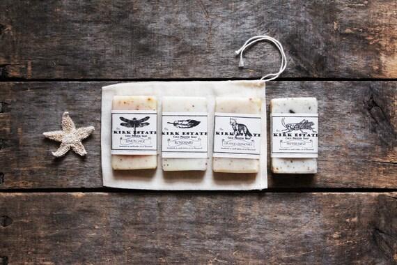 4 Soap Sample Gift Bag // soap gift set // handmade soap // cold process soap // vegan soap // lightly scented // all natural soap