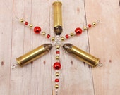 Snowflake Ornament - Hunting Theme - Upcycled .38 Special - Metallic Red - Bullet - Ammo - Used Bullets - Brass