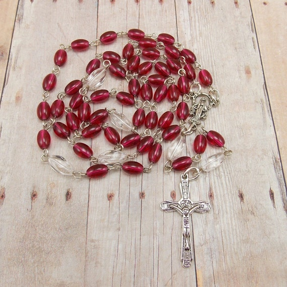 Beaded Rosary - Cranberry Pink and Clear Glass