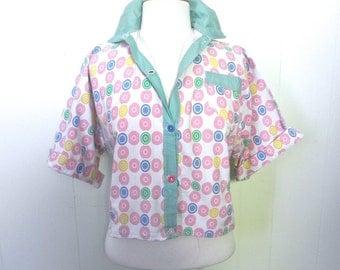 Vintage Shirt 30s Novelty Print pastel Dot Top L XL - on sale