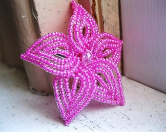 Pink Shimmer Bloom - French Beaded Flower Hair Clip