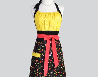 Cute Kitsch Retro Apron . Little Yellow Canary Birds on Black Floral Yellow Polka Dots Handmade Chef Cute Womens Apron
