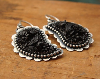 Paisley--Oxidized Sterling Silver Earrings with Vintage Black Glass Cabochons--Handcrafted