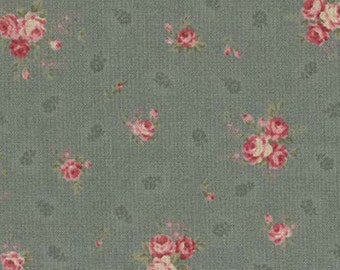 Antique Rose  Cotton Fabric by  Lecien 31022-70  Small Roses on Blue