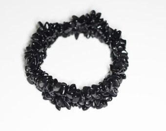 Black Chip Stretch Bracelet