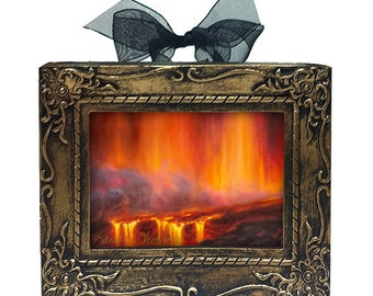 Hawaii Kilauea Volcano Ornament - Curtain of Fire - Signed & Framed Mini Art