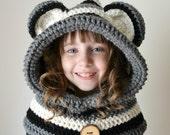 Raccoon Hat - Raccoon Hoodie - Raccoon Cowl - Animal Hat - Hooded Scarf - Crochet Hoodie - Chunky Crochet Hat